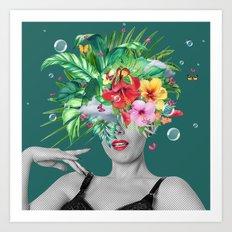 portriat floral Art Print
