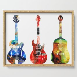 Guitar Threesome - Colorful Guitars By Sharon Cummings Serving Tray