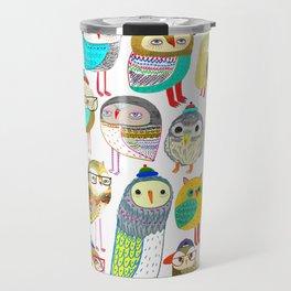 Owls. owl illustration, owl art, owl decor, pattern, art, design, animal, nature, kids, children, Travel Mug