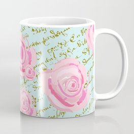 Pink  Roes and French Script Coffee Mug