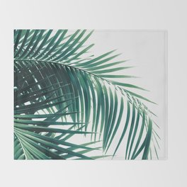 Palm Leaves Green Vibes #6 #tropical #decor #art #society6 Throw Blanket