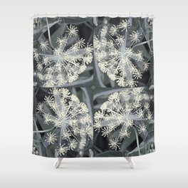 Ivory Dill Flowers in a Smoky Garden Shower Curtain