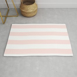 Vertical Stripes - White and Pastel Pink Rug