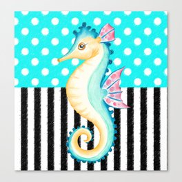 Seahorse Polka Teal Canvas Print