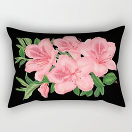 Vintage Victorian Pink Flowers on Black Rectangular Pillow