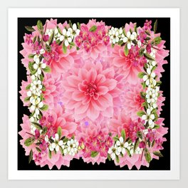 ORNATE PINK FLOWER COLLAGE WITH BLACK Art Print