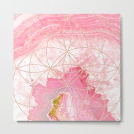 pink agate with rose gold geometric pattern Metal Print