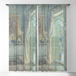 In the Blue Room, Drawing Room, Versailles by Anna Alma Tadema   Sheer Curtain