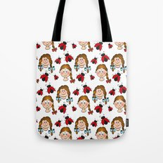 Girls and ladybirds pattern Tote Bag