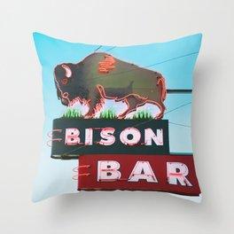 The Bison Bar Throw Pillow