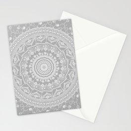 Secret garden mandala in soft gray Stationery Cards