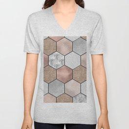 Marble hexagons and rose gold on black Unisex V-Neck
