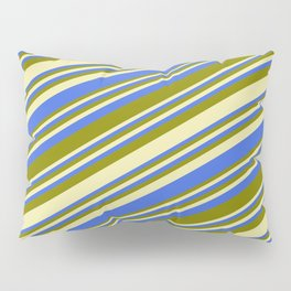 Pale Goldenrod, Royal Blue, and Green Colored Lined Pattern Pillow Sham