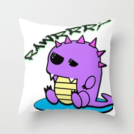 Muki the tired yami kawaii pastel dinosaur Throw Pillow