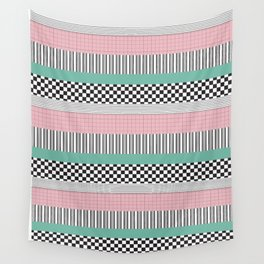 Pink and Teal Striped Pattern Wall Tapestry