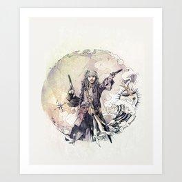 Jack Sparrow with double pistols Art Print