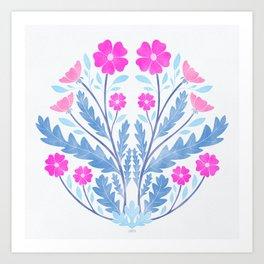 Art Nouveau Illustration / Floral / Circular / Pink Art Print