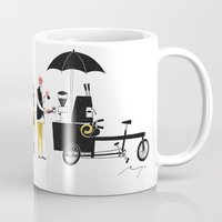 copenhagen Mugs featuring Coffee Bike, Copenhagen by Ryo Takemasa