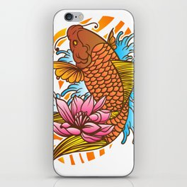 Traditional Japanese Koi Fish Tattoo With Wave And Flower Background iPhone Skin