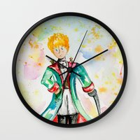 le petit prince Wall Clocks featuring The little Prince- Le Petit Prince by Colorful Simone