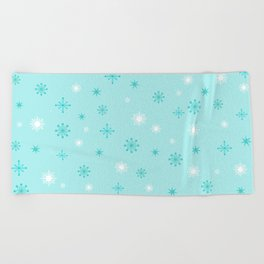 AFE Turquoise Snowflakes Beach Towel