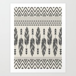 Tribal Feathers-Black & Cream Art Print