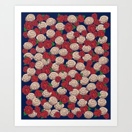 Cinnamon Rolls and Roses Art Print