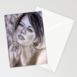Pencil Portrait Drawing  - American Actress - Emma Stone Stationery Cards