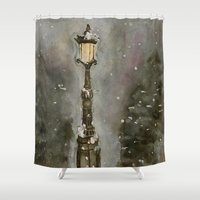 narnia Shower Curtains featuring Lamp Post in Blue by Jen Hallbrown