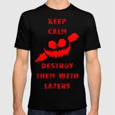 Keep Calm and Destroy Them With Lazers 3 Black MEDIUM Mens Fitted Tee