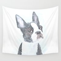 boston terrier Wall Tapestries featuring Boston Terrier by S'ANNie
