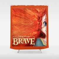 merida Shower Curtains featuring Brave: Merida by Schewy