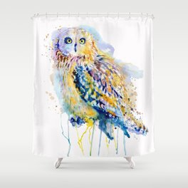 Short Eared Owl Watercolor painting Shower Curtain