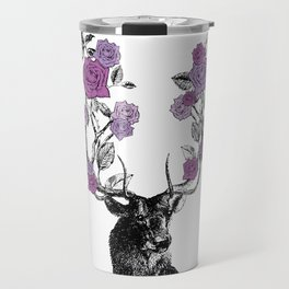 The Stag and Roses   Lilac   Purple Travel Mug