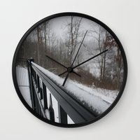 rileigh smirl Wall Clocks featuring Snowy Rail by Rileigh Smirl