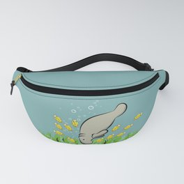 Manatee and fish Fanny Pack