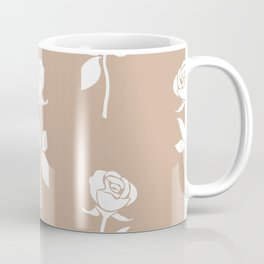 White rose seamless pattern isolated on brown background. Abstract flower wallpaper design. Coffee Mug