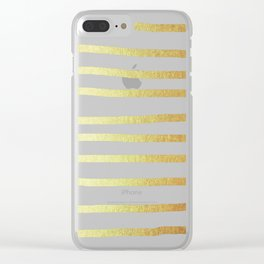 Simply Drawn Stripes 24k Gold Clear iPhone Case