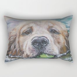 GOLDEN RETRIEVER dog portrait painting by L.A.Shepard fine art Rectangular Pillow