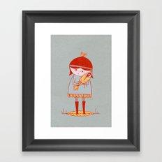 girl holding a bird Framed Art Print