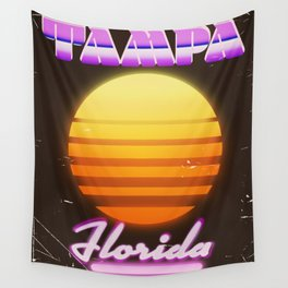 Tampa Florida 1980s travel poster Wall Tapestry