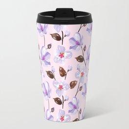 Elegant lilac violet blush pink brown modern floral illustration Travel Mug