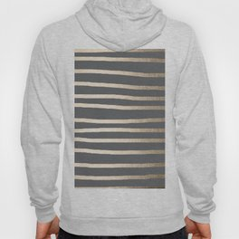 Simply Drawn Stripes White Gold Sands on Storm Gray Hoody