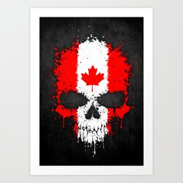 Flag of Canada on a Chaotic Splatter Skull Art Print