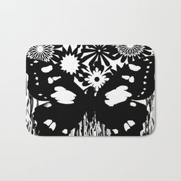 Toile Butterfly Black and White Pattern Bath Mat