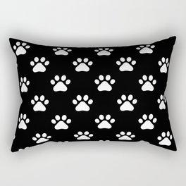 paw print black and white pattern Rectangular Pillow