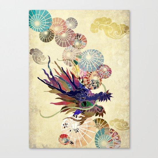 Dragon with unbrellas Canvas Print