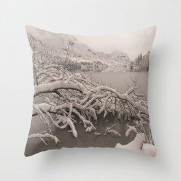 Frozen Lake Bohinj Throw Pillow