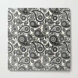 Ivory White Paisley Pattern Metal Print