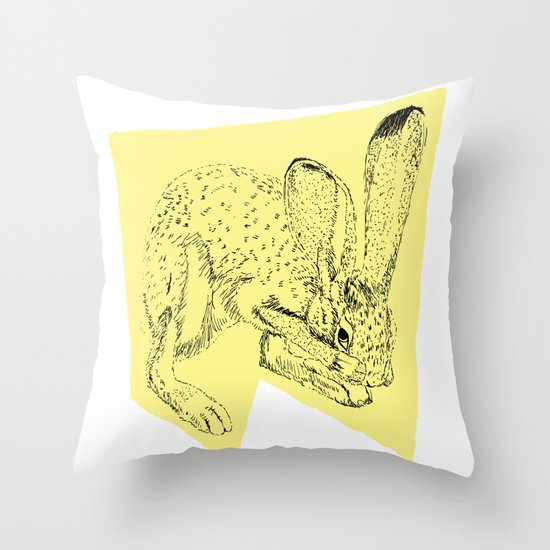 Yellow Hare Throw Pillow